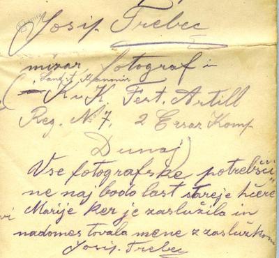 Detajl iz oporoke, ki jo je 1917 napisal Josip Trebec