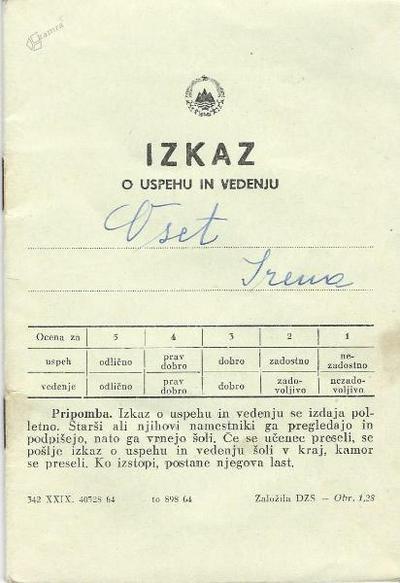 I. osnovna šola Celje, izkaz o uspehu in vedenju 1970