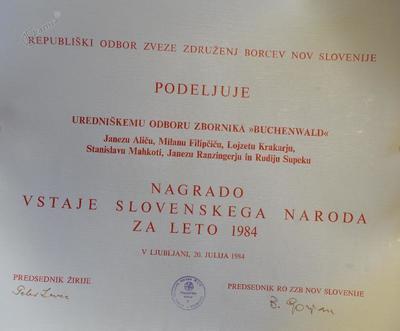 Nagrada vstaje slovenskega naroda