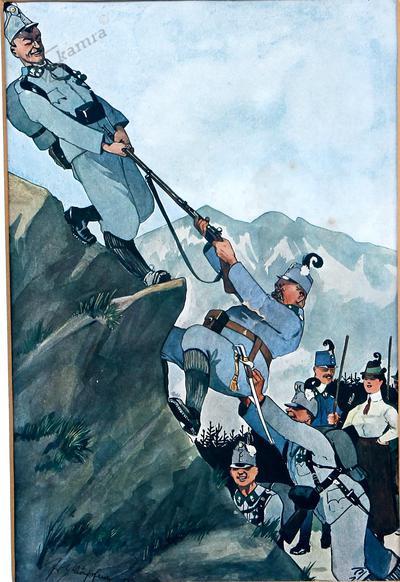 Karikatura avstro-ogrskega oficirja