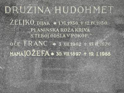 Nagrobni napis - Željko Hudohmet