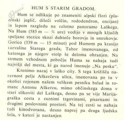 Predstavitev Huma v vodniku iz l. 1939