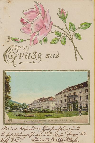 Razglednica: Gruss aus Curplatz Rohitsch Sauerbrunn. Poslana leta 1902.