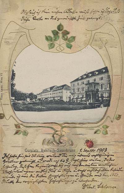 Razglednica: Curplatz Rohitsch-Sauerbrunn. Poslana leta 1903.