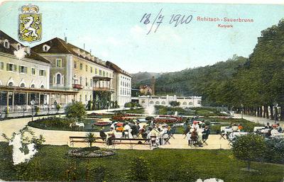 Razglednica: Rohitsch - Sauerbrunn. Kurpark. Poslana leta 1910.