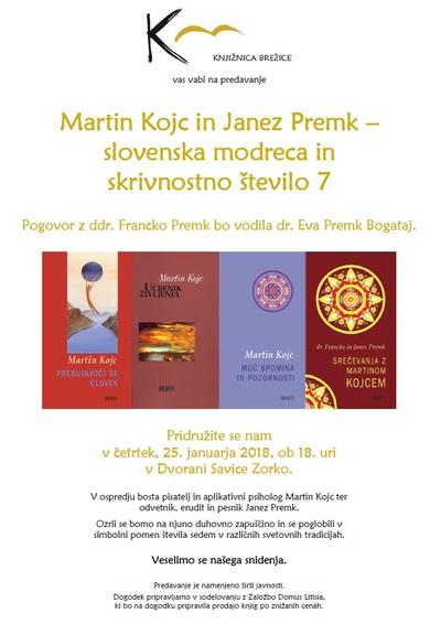 Vabilo na predavanje o Martinu Kojcu in Janezu Premku