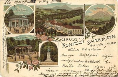 Razglednica: Gruss aus Rohitsch Sauerbrunn. Poslana leta 1898.