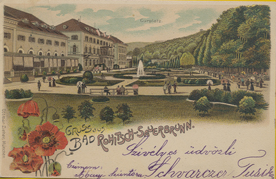 Razglednica: Gruss aus Bad Rohitsch-Sauerbrunn. Poslana leta 1900.