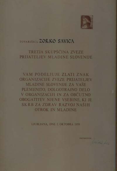 Zlati znak Savici Zorko