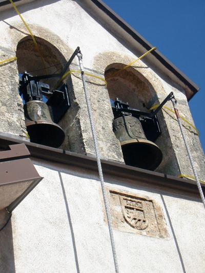 Zvončnica kapele z domnevnim grbom Franca Rheinerja