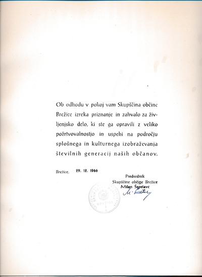 Priznanje ob odhodu Savice Zorko v pokoj leta 1966