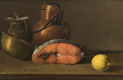 Bodegón con salmón, limón y recipientes