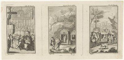 Drie boekillustraties met scènes met hovelingen