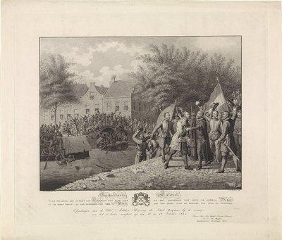Boisot omhelst burgemeester van der Werff tijdens het ontzet van Leiden, 1574