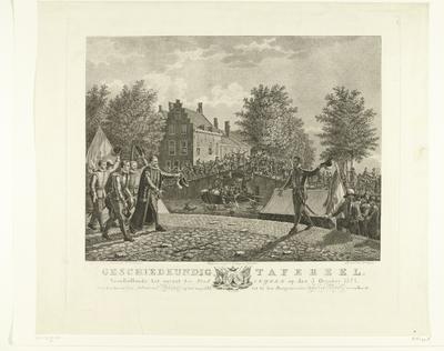 Boisot verwelkomt burgemeester van der Werff tijdens het ontzet van Leiden, 1574