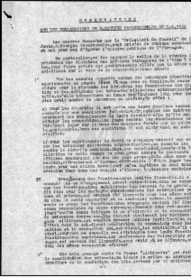 Observations sur les declarations de M. Georges Papadopoulos du 9/4/1969