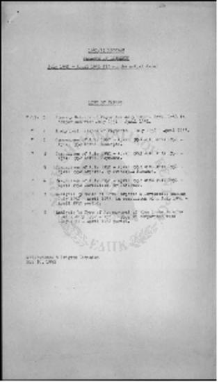 PROGRAM BALANCE OF PAYMENTS - (JULY 1952 - APRIL 1953)