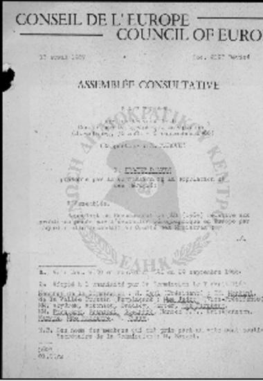 Conseil de l' Europe-Council of Europe-Conference Demographique Europeene-Recommandations (30/08-06/09/1966)