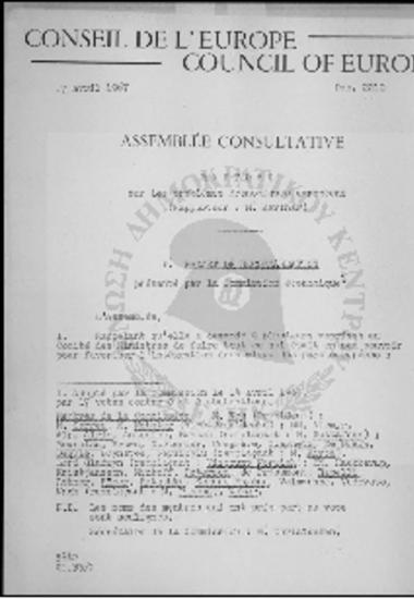 Conseil de l' Europe-Council of Europe-Sur les problemes economiques europeens (1967)