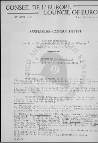 Conseil de l' Europe-Council of Europe-Sur la politique generale du Conseil de l' Europe (1967)