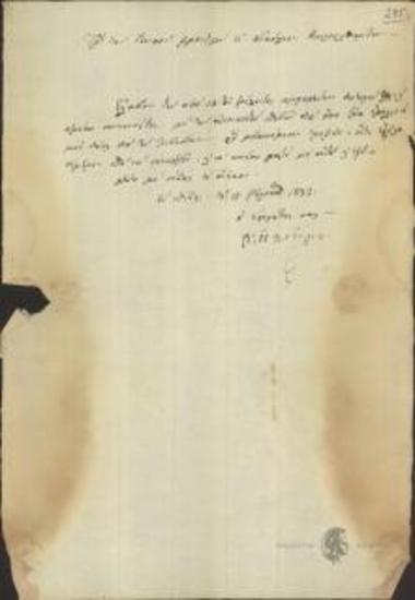 V. Oikonomou (Curator) to General Intendant (Mavrolitharitis)