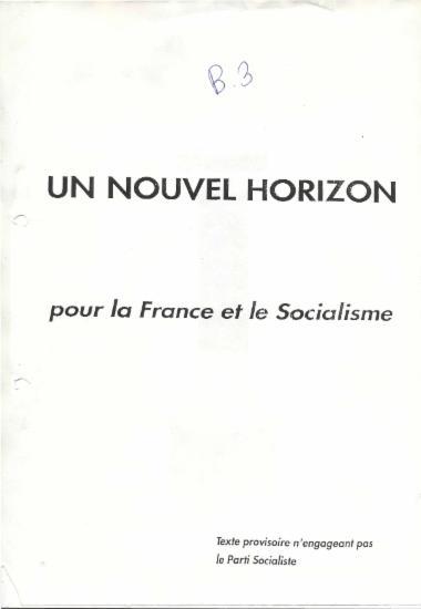Un nouvel horizon pour la France et le Socialisme