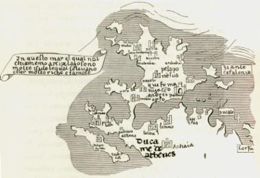 Χάρτης της Στερεάς Ελλάδος, της Εύβοιας, της Πελοποννήσου και των Ιονίων νήσων από τον παγκοσμιο χάρτη του Φρα Μάουρο (Fra Mauro), γύρω στα 1460.
