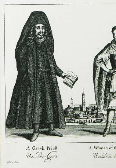 Έλληνας κληρικός και γυναίκα με παραδοσιακή στολή των νησιών.