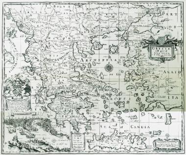 Χάρτης της Ελλάδας με τα δυτικά παράλια της Μικράς Ασίας. Στην ένθετη παράσταση στο κάτω αριστερά τμήμα του χάρτη υπάρχει επίσης άποψη της Κωνσταντινούπολης.