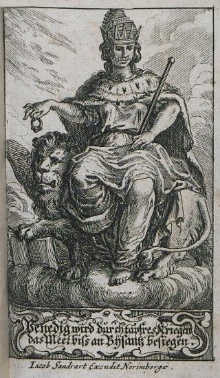 Προμετωπίδα: Αλληγορική παράσταση της επικράτησης της Βενετίας στον ΣΤ΄Βενετο-οθωμανικό πόλεμο.
