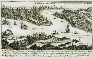 Άποψη της Κωνσταντινούπολης: 1. Το Επταπύργιο Κάστρο. 3. Η περιοχή Φενέρ Μπαχτσέ. 4. Το λιμάνι του Καντί Κιόι. 5-6. Τα ανάκτορα του Σκούταρι. 7. Ο Πύργος του Λεάνδρου. 8. Το λιμάνι του Σκούταρι. 9-10. Η περιοχή του Τοπχανέ με την υπαίθρια αγορά. 11. Η περιοχή του Γαλατά και του Πέρα. 12. Τα ναυπηγεία του Κασίμ Πασά. 13. Το τέμενος της Σουλτάνας Βαλιντέ (ή Γενί Τζαμί). 14. Το ανάκτορο του Πορφυρογέννητου.