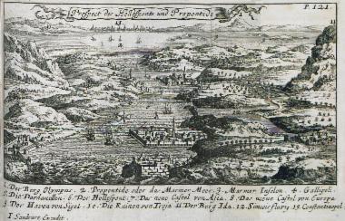 Χάρτης των στενών των Δαρδανελίων και της θάλασσας του Μαρμαρά: 1. Ο Όλυμπος της Βιθυνίας. 2. Η Προποντίδα (Θάλασσα του Μαρμαρά). 3. Τα νησιά του Μαρμαρά. 4. Η θέση της Καλλίπολης. 5. Το κάστρο Σουλτανιγιέ στην ασιατική ακτή των Δαρδανελίων. 6. Ο Ελλήσποντος. 7, 8, 9. Τα νέα φρούρια των Δαρδανελίων. 10. Αρχαία ερείπια στην Τρωάδα. 11. Το όρος Ίδα. 12. Ο ποταμός Σιμόεις. 13. Η Κωνσταντινούπολη.