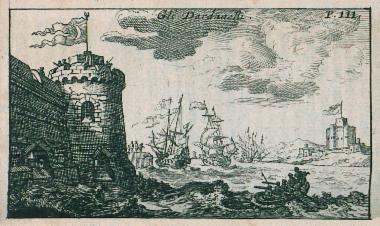 Άποψη των κάστρων Κιλίτ Μπαχίρ (αριστερά) και Σουλτανιγιέ (δεξιά) στην ευρωπαϊκή και ασιατική ακτή των Δαρδανελίων αντιστοίχως.