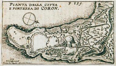 Χάρτης της Κορώνης και κάτοψη του κάστρου της.