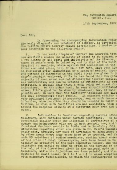 Επιστολή του Leonard Rogers σχετικά με τη διάγνωση και τη θεραπεία της λέπρας.
