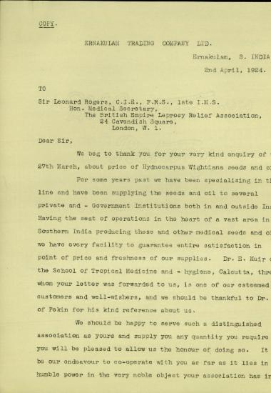 Επιστολή του Διευθύνοντα Συμβούλο της Ernakulam Trading Company Ltd., K.M. Pracie, προς τον Leonard Rogers με την οποία τον ενημερώνει για τη δυνατότητα της εταιρείας του να τον προμηθεύσει με σπόρους και λάδι από το δέντρο Hydnocarpus Wightiana χρήσιμων για τη θεραπεία της λέπρας.