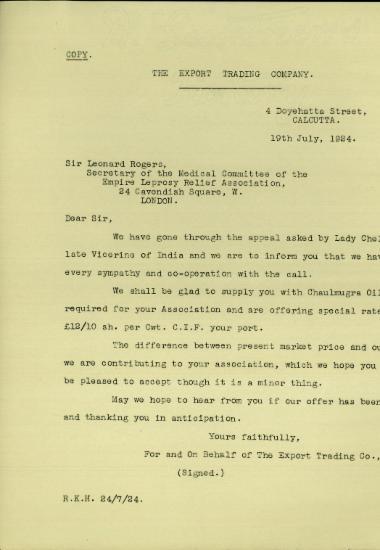 Επιστολή της Export Trading Company προς τον Leonard Rogers σχετικά με την προμήθεια της British Empire Leprosy Relief Association με chaulmugra oil.