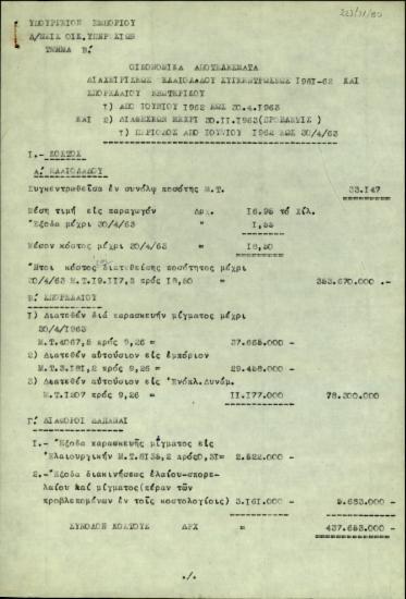 Αναφορά της Διεύθυνσης Οικονομικών Υπηρεσιών του Υπουργείου Εμπορίου της Ελλάδας σχετικά με τα οικονομικά αποτελέσματα της διαχειρίσεως ελαιολάδου συγκέντρωσης 1961-1962 και σπορελαίου εξωτερικού.