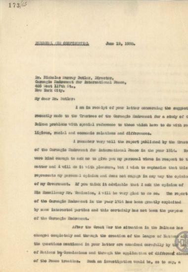 Επιστολή του Χ.Σιμόπουλου προς τον Nicholas Murray Butler σχετικά με τη μελέτη των Βαλκανικών προβλημάτων.