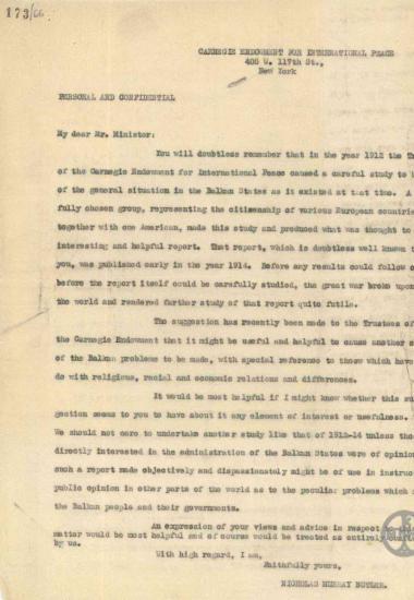 Επιστολή του Nicholas Murray Butler προς τον Χ.Σιμόπουλο σχετικά με τη διεξαγωγή μελέτης των Βαλκανικών προβλημάτων.