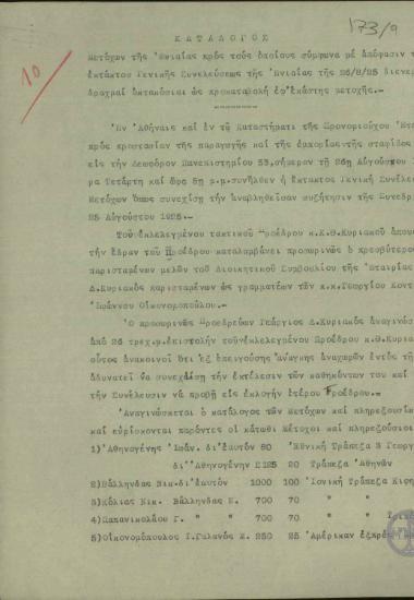 Κατάλογος μετόχων της Ενιαίας προς τους οποίους, σύμφωνα με απόφαση της έκτακτης Γενικής Συνέλευσης της Ενιαίας της 26/8/25, διανεμήθηκαν 800 δρχ. ως προκαταβολή για κάθε μετοχή.