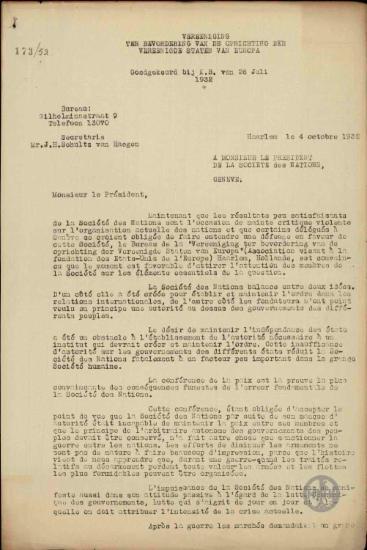 Επιστολή της Association pour but des États Unis de l' Europe προς τον Πρόεδρο της Κοινωνίας των Εθνών σχετικά με την πρόταση υπέρ της ενοποίησης των κρατών της Ευρώπης.