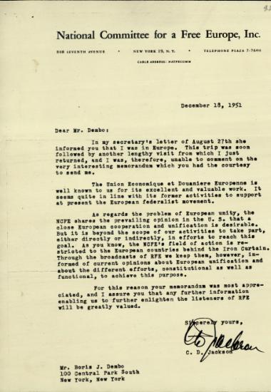 Επιστολή του C. D. Jackson προς τον Boris J. Dembo σχετικά με τα όρια της στήριξης που μπορεί να παράσχει η National Committee for a Free Europe στην Ευρωπαϊκή Οικονομική και Τελωνειακή Ένωση.