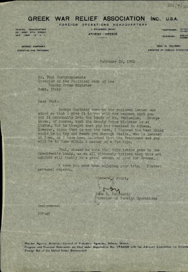 Επιστολή του διευθυντή των Εξωτερικών Υποθέσεων του Greek War Relief Association Inc., John H. Fellouris, προς τον Π. Βαρδινογιάννη με την οποία του αποστέλλει επιστολή του Γ. Ξανθάκη απευθυνόμενη προς τον Σ. Βενιζέλο σχετικά με μια έκθεση τέχνης.