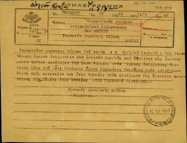 Τηλεγράφημα του Γενικού Διοικητή Κρήτης, Χρ. Τζιφάκη, προς τον Σ. Βενιζέλο και τον υπουργό Δημοσίας Τάξεως σχετικά με την αναχώρηση 140 οπλιτών και την κατάταξη 100 ανδρών χωροφυλακής άνευ θητείας.