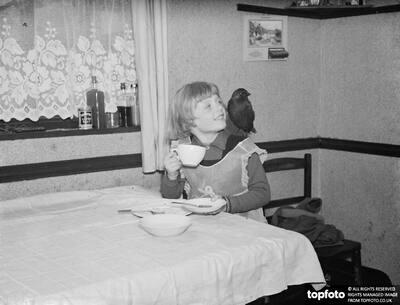 Little Ann Bowers at breakfast