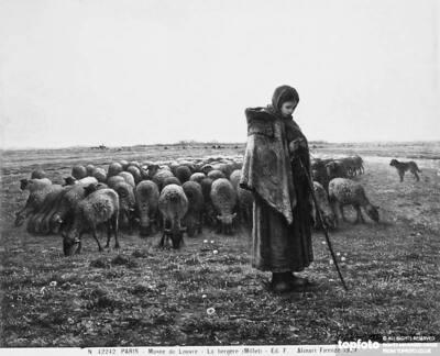 Painting depicting shepherdess minding a