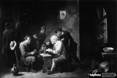 Tavern with card players. Painting