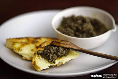 Olive tapenade with grilled bread