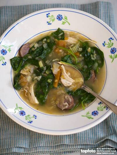 Complete meal soup of chicken,